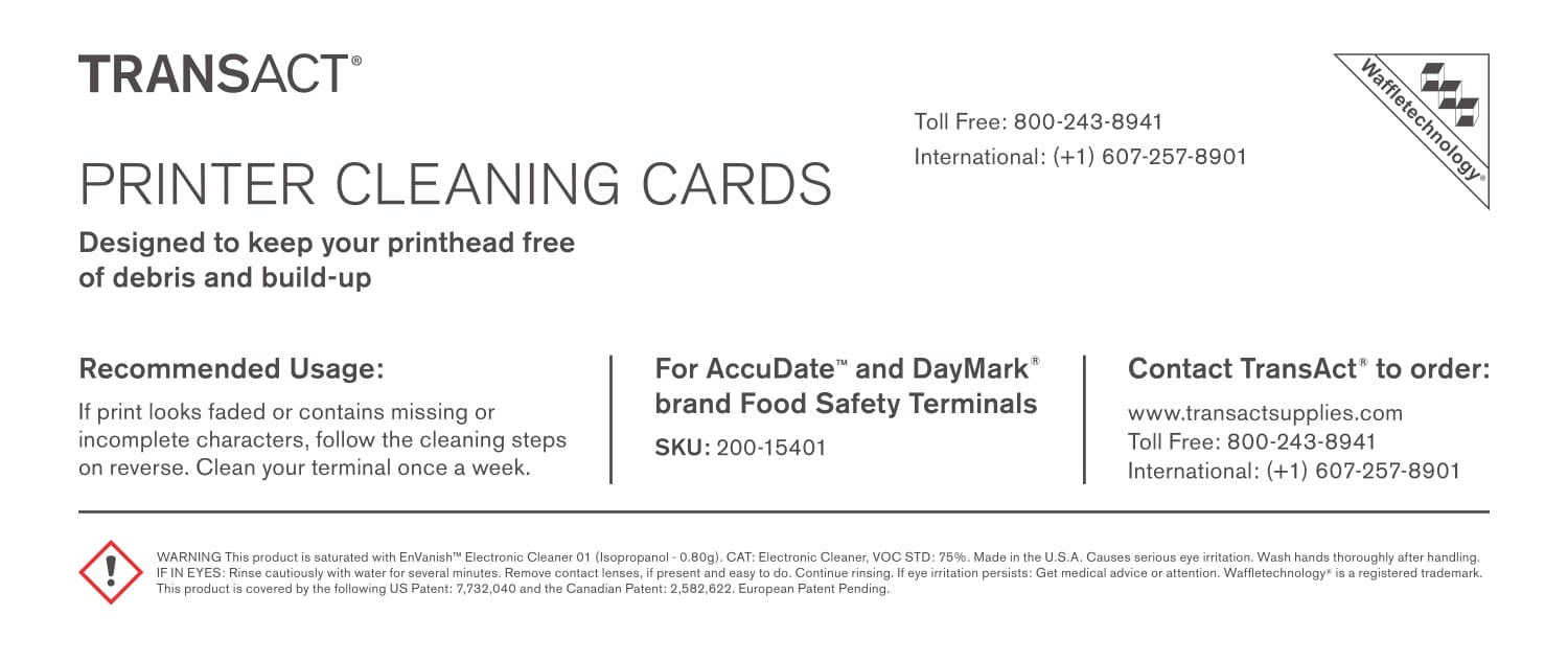 Food Safety Terminal Cleaning Card