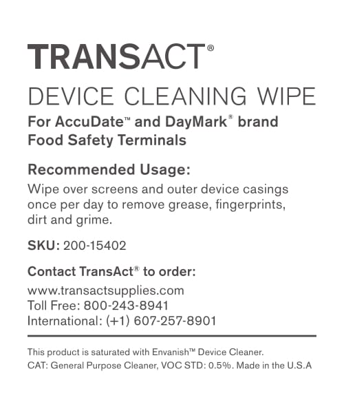 Food Safety Terminal Cleaning Wipe